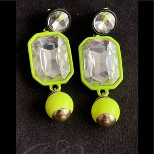 J Crew Brulee Clear Crystal Neon Green Earrings